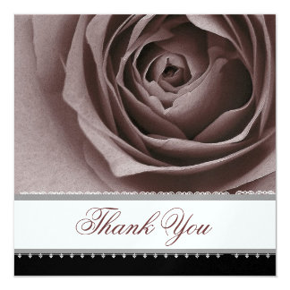 DUSTY PLUM Rose Lace Ribbon Wedding Thank You Card