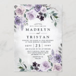 """Dusty Purple and Silver Gray Floral Rustic Wedding Invitation<br><div class=""""desc"""">Design features elegant watercolor floral elements in various shades of dusty purples, dark plum and more. Design also features various types of rustic greenery and branches with silver gray watercolor splashes within the corners for added style. If you prefer the invitation without the splashes, you can remove them on the...</div>"""