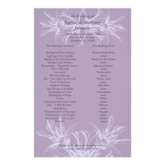 Dusty Purple Floral Wedding Program Stationery