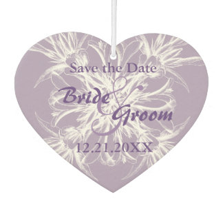 Dusty Purple Floral Wedding Save the Date Car Air Freshener