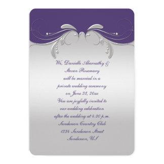 Dusty Purple Ornate Silver Swirls Reception Only Card