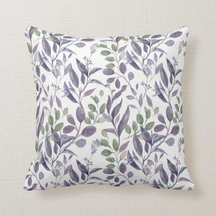 Dusty Purple Sage Green Leaves Greenery   Throw Pillow   Zazzle