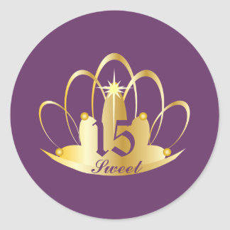 Dusty Purple Sweet 15 Tiara Sticker-Customize