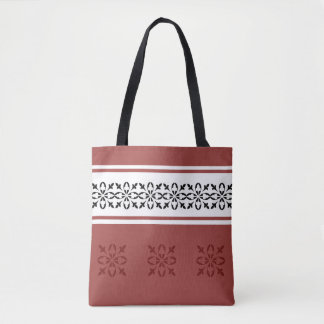 Dusty red with black damask highlights on white tote bag