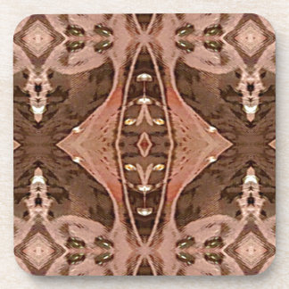 Dusty Rose And Brown Artistic Pattern. Coaster