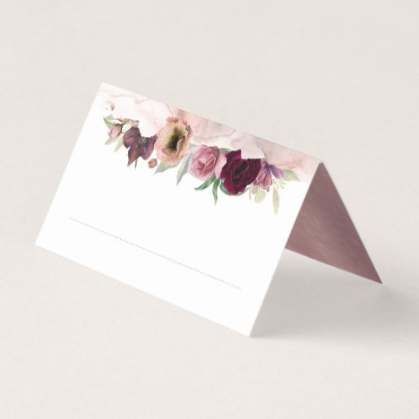 Dusty Rose and Burgundy Red Floral Vintage Wedding Place Card