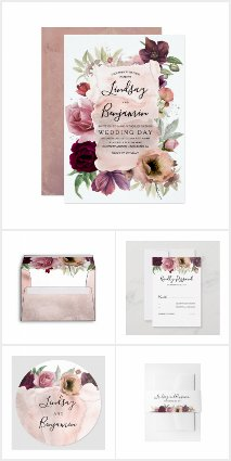 Dusty Rose and Burgundy Red Watercolor Flowers
