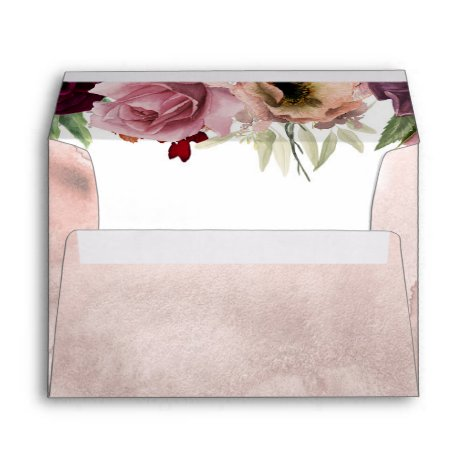Dusty Rose and Burgundy Vintage Floral Wedding Envelope