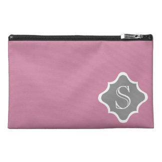 Dusty Rose and Dove Grey Quatrefoil Monogram Travel Accessory Bag
