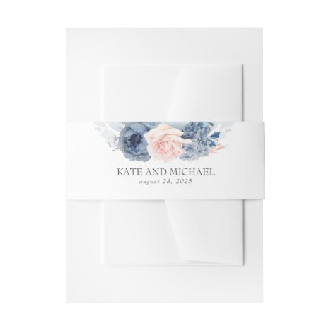 Dusty Rose And Navy Blue Floral Wedding Invitation Belly Band