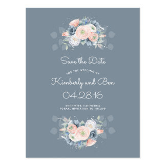 Dusty Rose and Pale Blue Floral Save the Date Postcard