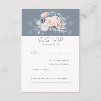 Dusty Rose and Pale Blue Floral Wedding RSVP