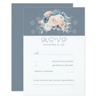 Dusty Rose and Pale Blue Floral Wedding RSVP Card