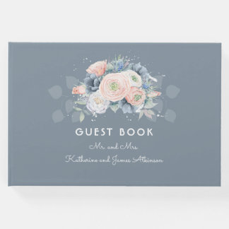 Dusty Rose and Slate Blue Floral Wedding Guest Book
