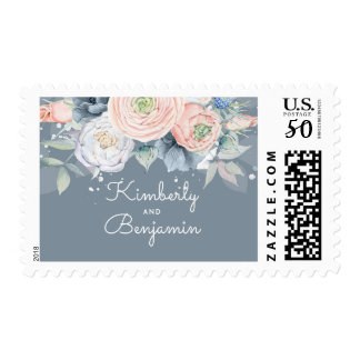 Dusty Rose and Slate Blue Floral Wedding Postage