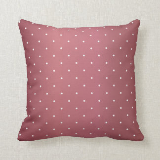 Dusty Rose and Tiny White Polka Dots Throw Pillow