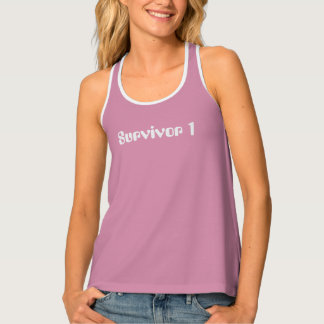 Dusty Rose and White Survivor 1 Racerback Tank Top