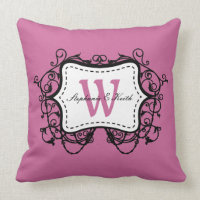 Dusty Rose Antique Frame Stitching Monogram Throw Pillow