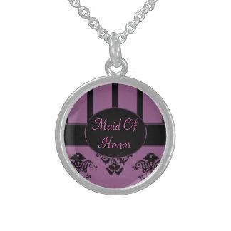 Dusty Rose & Black Stripes, Monogram Baroque Sterling Silver Necklace