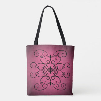 Dusty rose black tote bag