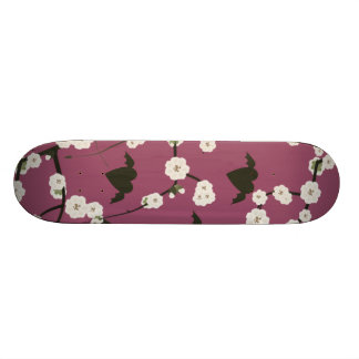 Dusty Rose Cherry Blossom Winged Hearts Skateboard Deck