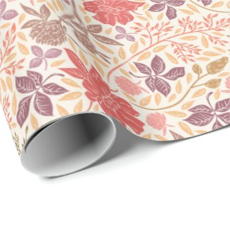 Dusty Rose Clover Garden Print Wrapping Paper