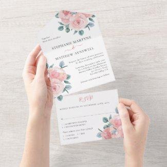 Dusty Rose Eucalyptus Elegant Floral Wedding All In One Invitation