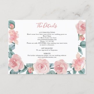 Dusty Rose Eucalyptus Floral Wedding Details Enclosure Card