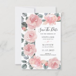 Dusty Rose Eucalyptus Watercolor Floral Wedding Save The Date
