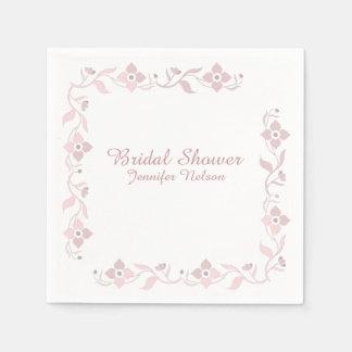 Dusty Rose Floral Bridal Shower Napkins