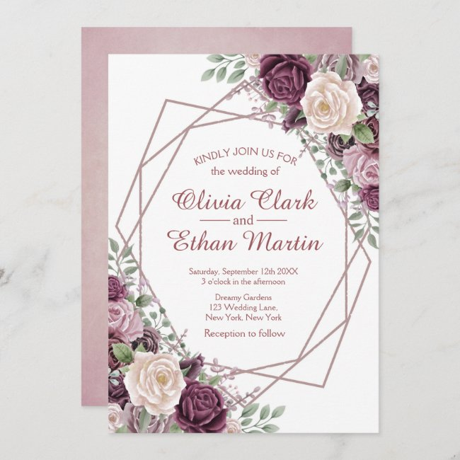 Dusty Rose Floral Geometric on White Invitation