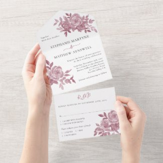 Dusty Rose Floral Roses Foliage Wedding All In One Invitation