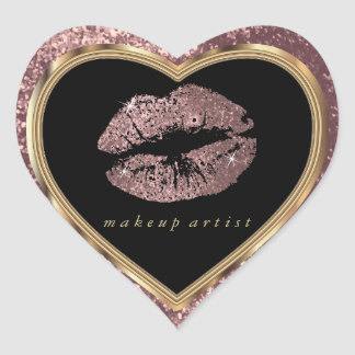 Dusty Rose Glitter Love Lips and Gold Font Heart Sticker