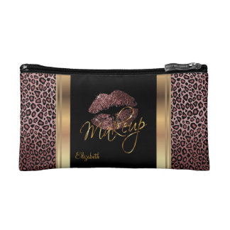 Dusty Rose Gold Glitter Confetti Lips and Leopard Makeup Bag
