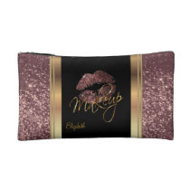 Dusty Rose Gold Glitter Confetti Lips Cosmetic Bag
