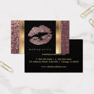 Dusty Rose Gold Glitter Lips and Elegant Gold Business Card