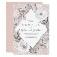 Dusty Rose Gray Floral Lace Wedding Invitation