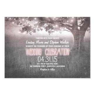 dusty rose grey lights tree wedding invites