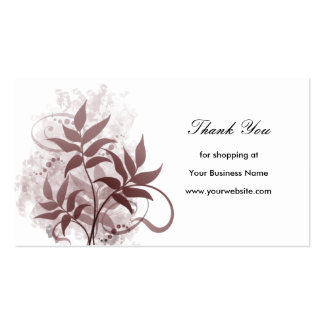 Dusty Rose Leaves - Thank You Business Card Templates