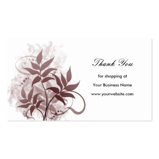 Dusty Rose Leaves Thank You Business Card