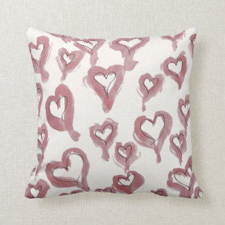 Dusty Rose Lipstick and Black Ink Hearts Throw Pillow