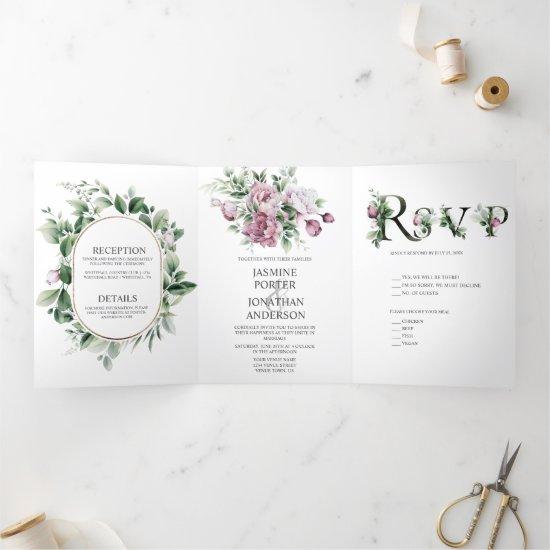 Dusty Rose Peonies Greenery Wedding    Tri-Fold Invitation