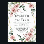 """Dusty Rose Pink and Gold Floral Greenery Wedding Invitation<br><div class=""""desc"""">Design features an elegant geometric gold colored (printed) frame decorated with watercolor roses in shades of dusty rose pink,  mauve and similar shades with white floral elements over various types of greenery branches and leaves.   View the collection on this page to find matching products from this suite.</div>"""