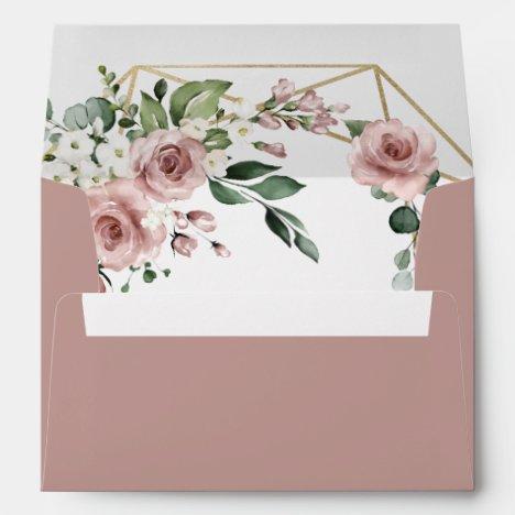 Dusty Rose Pink and Gold Medium Greenery Wedding Envelope