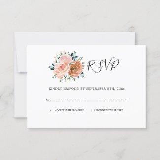 Dusty Rose Pink Coral Peach Botanical Wedding RSVP Card