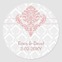 dusty rose pink damask envelope seals