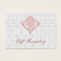 dusty rose pink  damask Gift registry  Cards