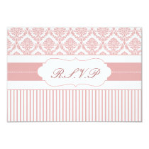 dusty rose pink damask   rsvp standard 3.5 x 5 card