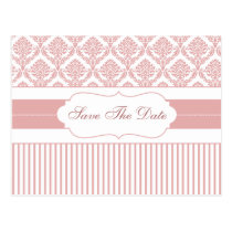 dusty rose pink damask save the date announcement postcard
