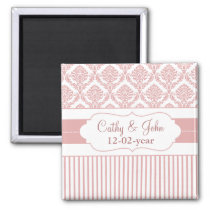dusty rose pink damask Save the date magnet